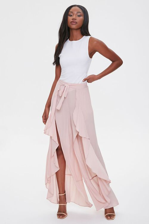 Crinkled Wrap-Front Ruffle-Trim Pants, image 5
