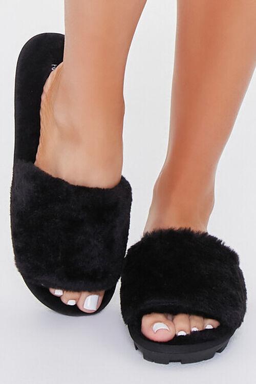BLACK Faux Fur Lug Sole Slippers, image 4