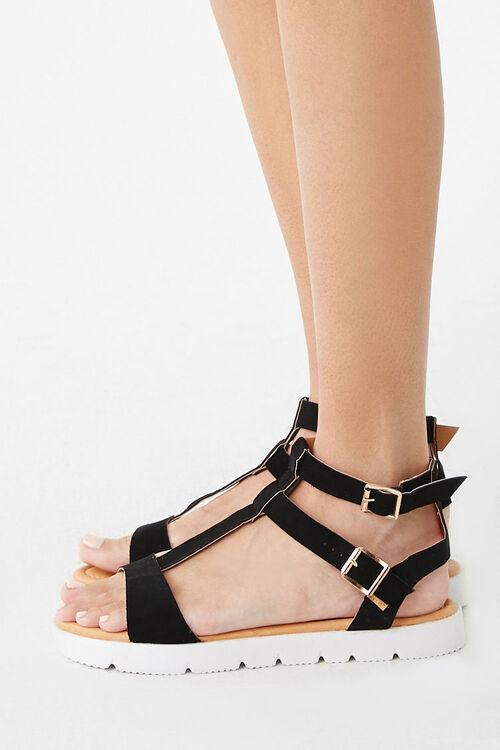 BLACK Strappy Faux Suede Sandals, image 3