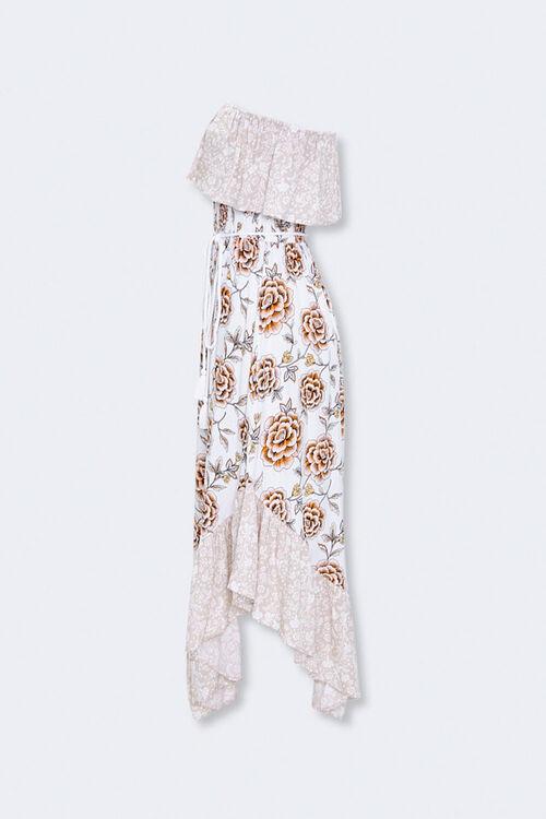 Strapless Floral Patternblock Dress, image 2