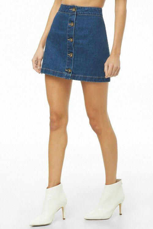 Button-Front Denim Mini Skirt, image 1