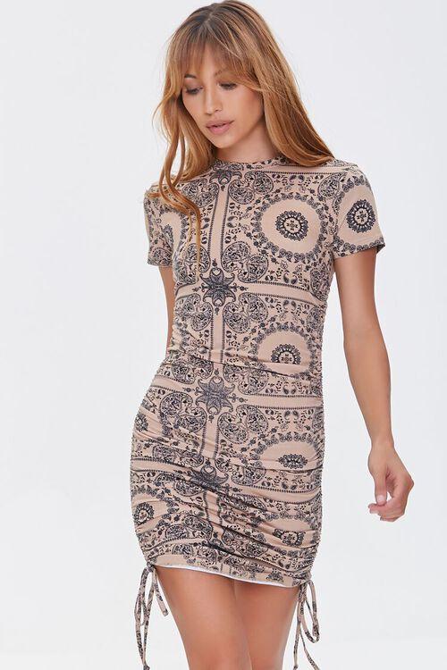CAMEL/BLACK Ornate Bodycon Mini Dress, image 1
