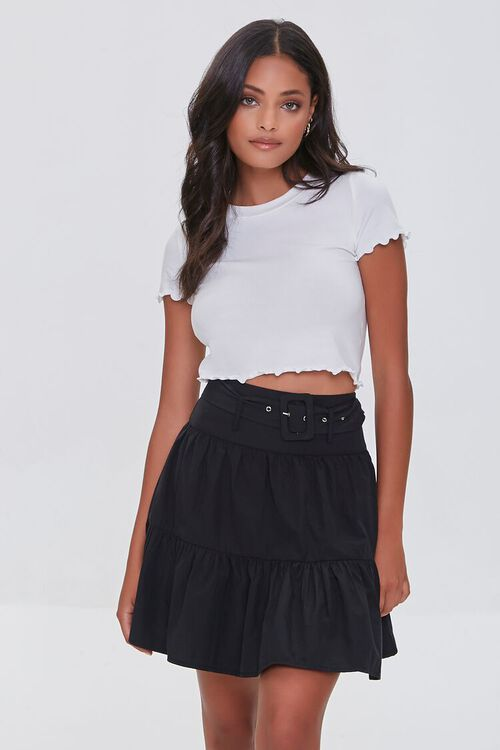 Tiered Buckled Mini Skirt, image 1