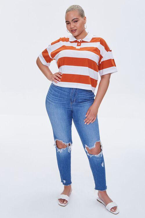 Plus Size Striped Polo Shirt, image 4