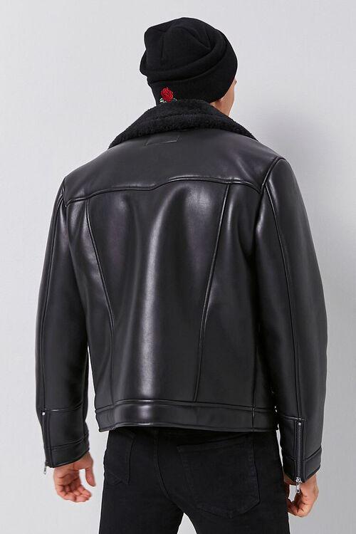 Faux Leather & Faux Shearling Moto Jacket, image 3