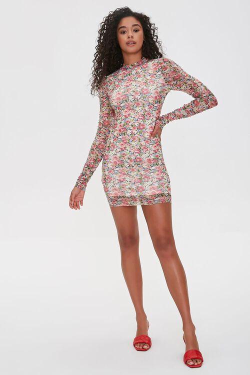 PINK/MULTI Floral Bodycon Mini Dress, image 4