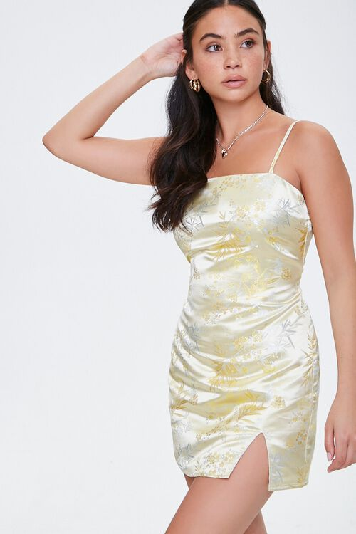YELLOW Embroidered Satin Cami Dress, image 6