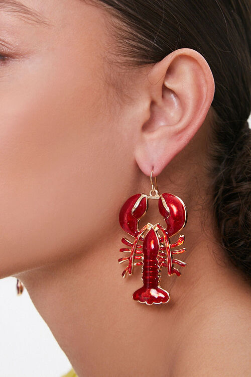 Resin Lobster Drop Earrings, image 1