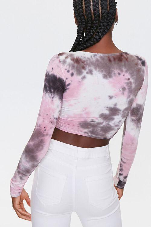 BLACK/MULTI Tie-Dye Ruched Crop Top, image 3