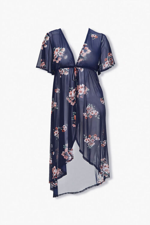 Plus Size Floral Duster Jacket, image 1