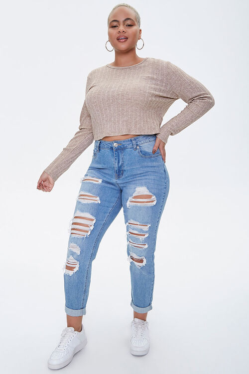 Plus Size Ribbed Long-Sleeve Top, image 4