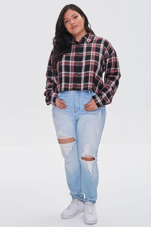 Plus Size Cropped Plaid Shirt, image 4
