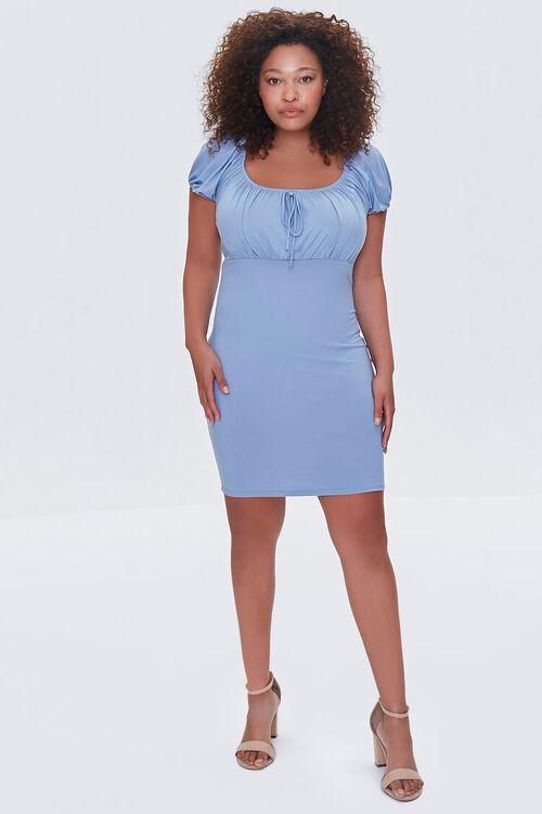 DUSTY BLUE Plus Size Square-Neck Mini Dress, image 4