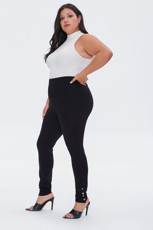 BLACK Plus Size Button Leggings, image 1