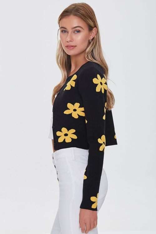 Daisy Print Buttoned Cardigan Sweater, image 2