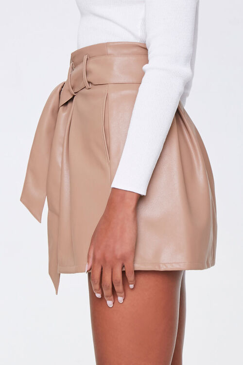 Faux Leather Paperbag Mini Skirt, image 2