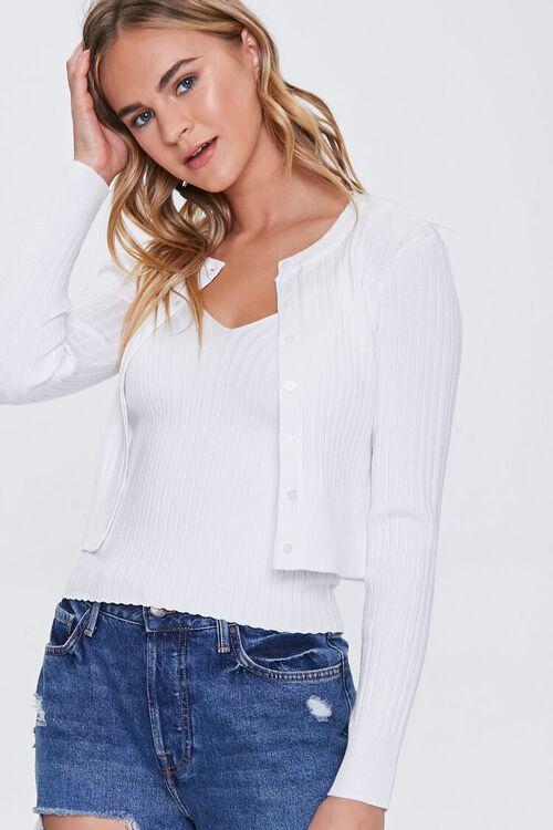 Ribbed Cardigan Sweater & Cami Set, image 1