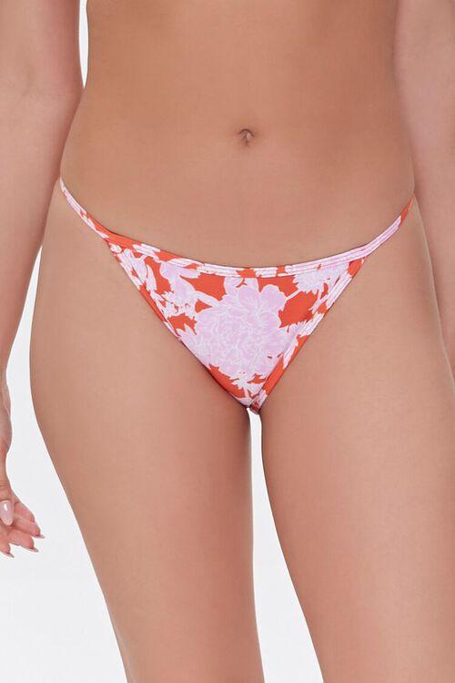 RED/PINK Floral Print String Bikini Bottoms, image 2
