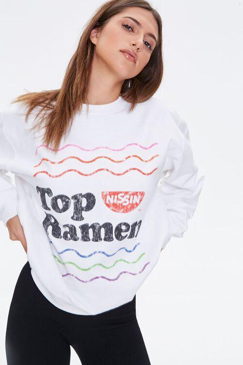 WHITE/MULTI Nissin Top Ramen Graphic Pullover, image 1