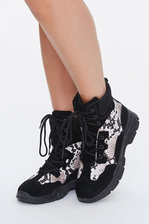 Faux Snakeskin Combat Boots, image 1