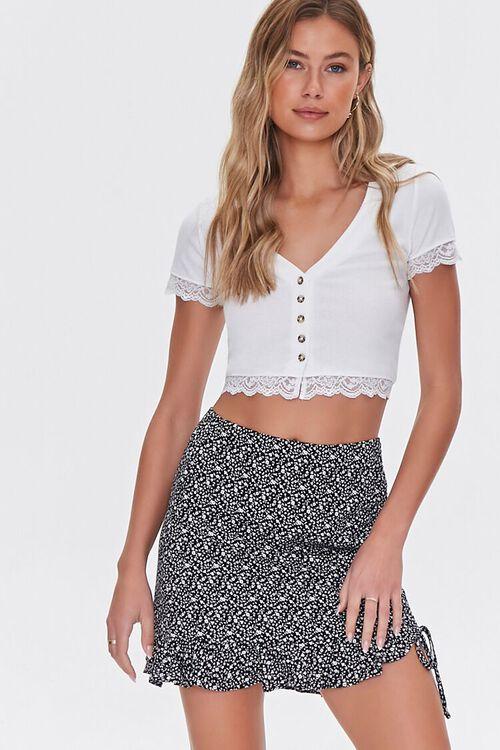BLACK/WHITE Floral Print Mini Skirt, image 1