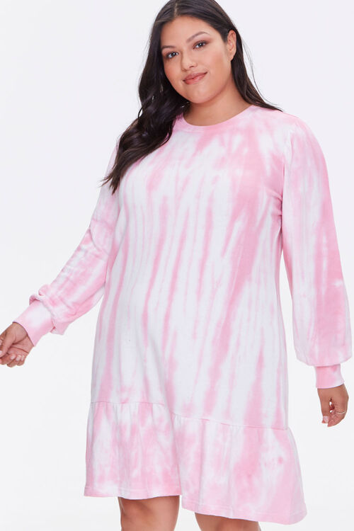 Plus Size Tie-Dye Sweatshirt Dress, image 1