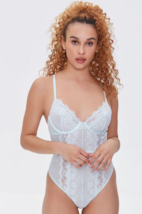 Sheer Lace-Trim Bodysuit, image 1