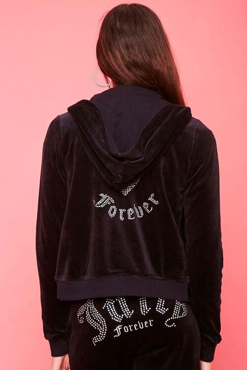BLACK/SILVER Juicy Couture Velour Zip-Up Jacket, image 3