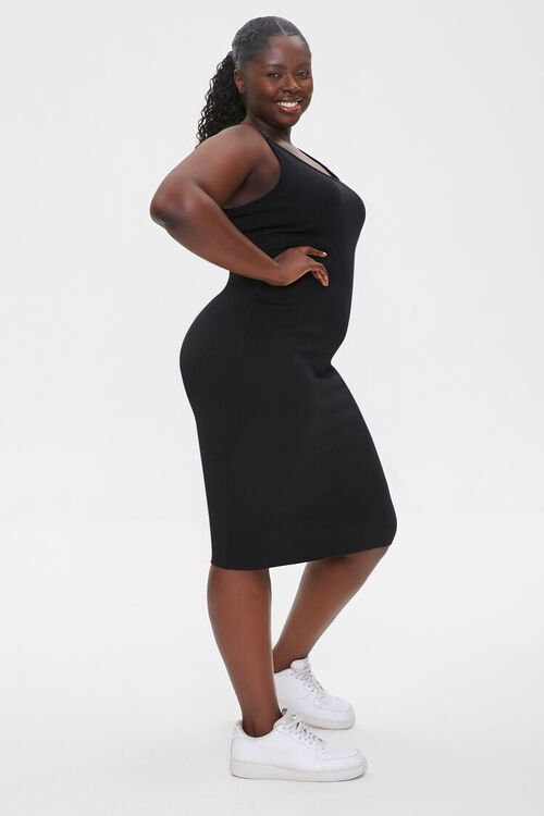 BLACK Plus Size Ribbed Tank Dress, image 3