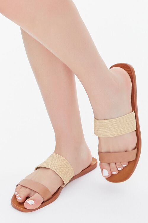 Faux Straw Basketwoven Flat Sandals, image 1
