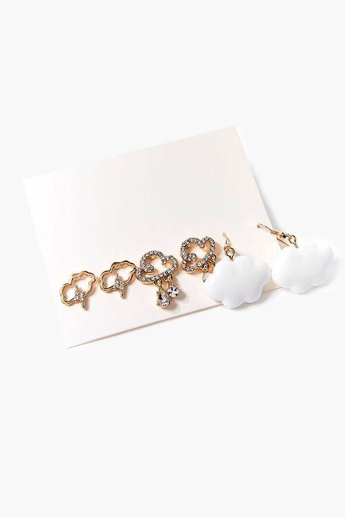 WHITE/GOLD Cloud Pendant Stud & Drop Earring Set, image 1