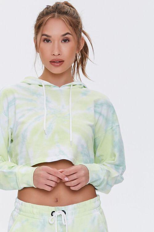 GREEN/WHITE Active Tie-Dye Hoodie, image 1
