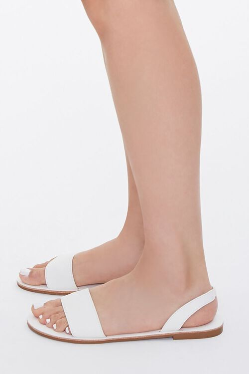 WHITE Faux Leather Slingback Sandals, image 2