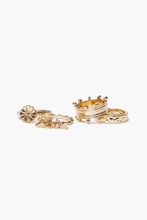 Flower Charm Textured Ring Set, image 1