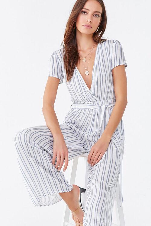 Striped Surplice Jumpsuit, image 1