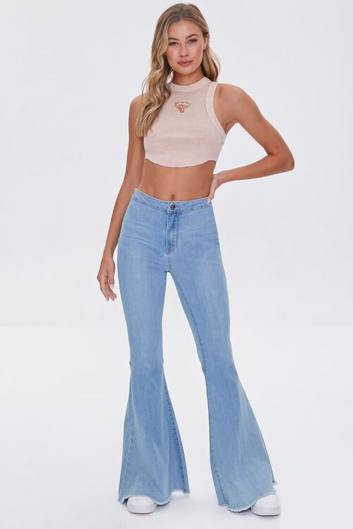 Bull Embroidered Graphic Crop Top, image 4