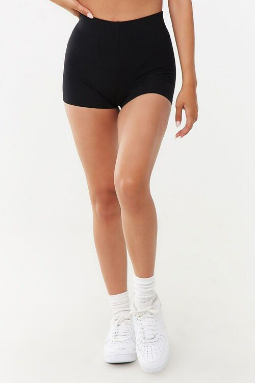 BLACK Basic Cotton-Blend Bike Shorts, image 2