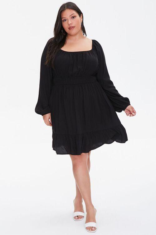 BLACK Plus Size Peasant-Sleeve Shirred Dress, image 4