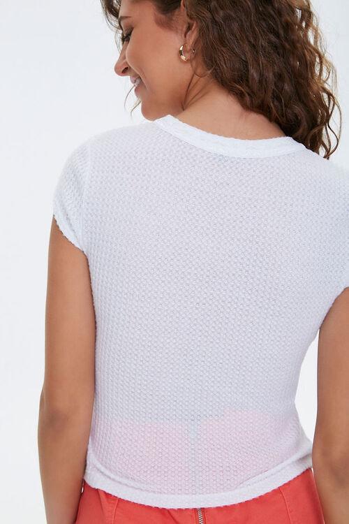 Lace-Trim Waffle Knit Tee, image 3