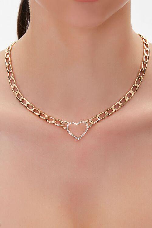 Rhinestone Heart Pendant Necklace, image 1
