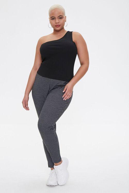 Plus Size Checkered Print Leggings, image 1