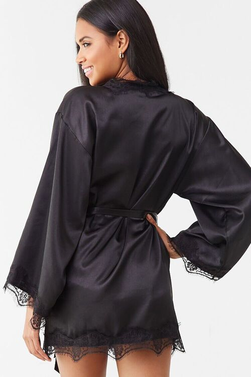 BLACK Lace Satin Robe, image 3