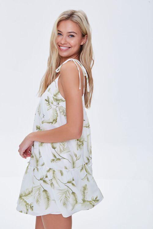 CREAM/GREEN Leaf Print Mini Dress, image 2