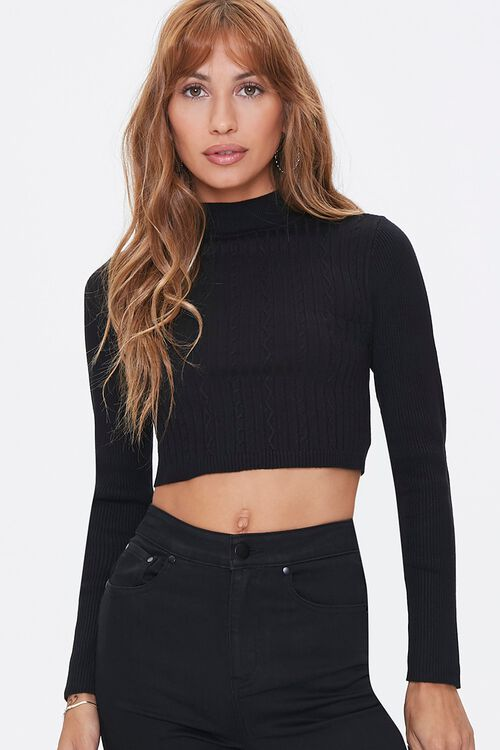 Cropped Cable Knit Sweater, image 1