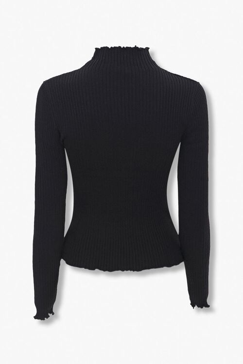 Ribbed Lettuce-Edge Sweater Top, image 2