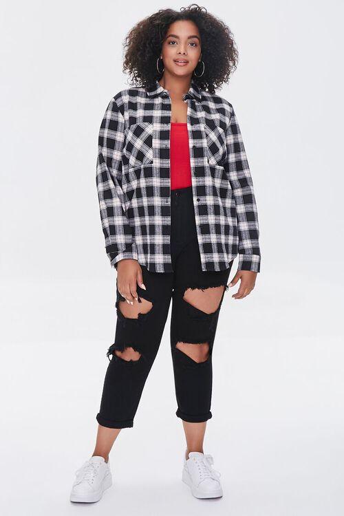 Plus Size Dual-Pocket Flannel Plaid Shirt, image 4