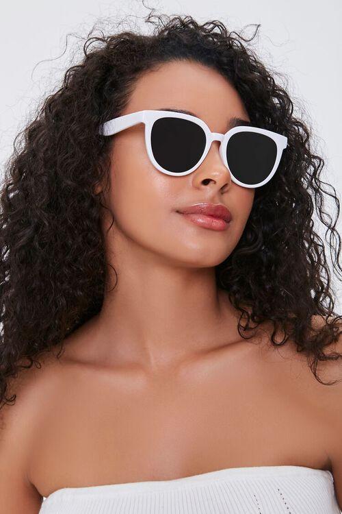 WHITE/BLACK Round Frame Sunglasses, image 2
