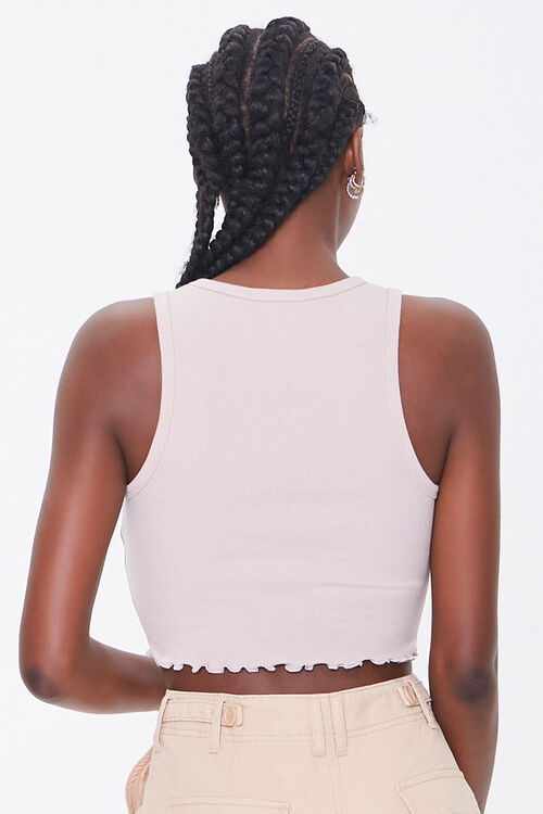 Ribbed Lettuce-Edge Cropped Tank Top, image 3