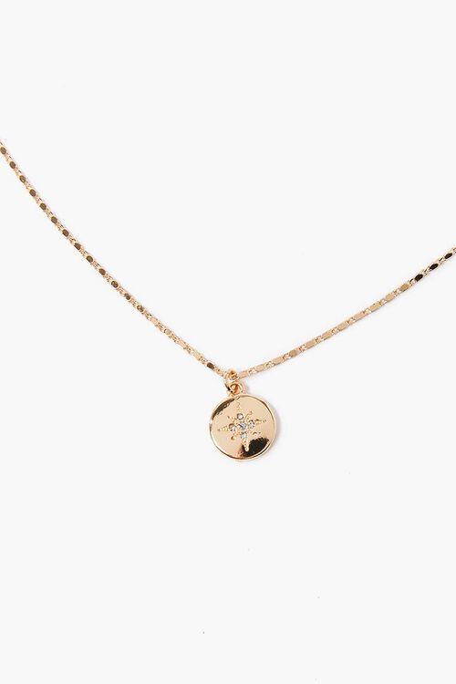 Rhinestone Star Round Charm Necklace, image 1