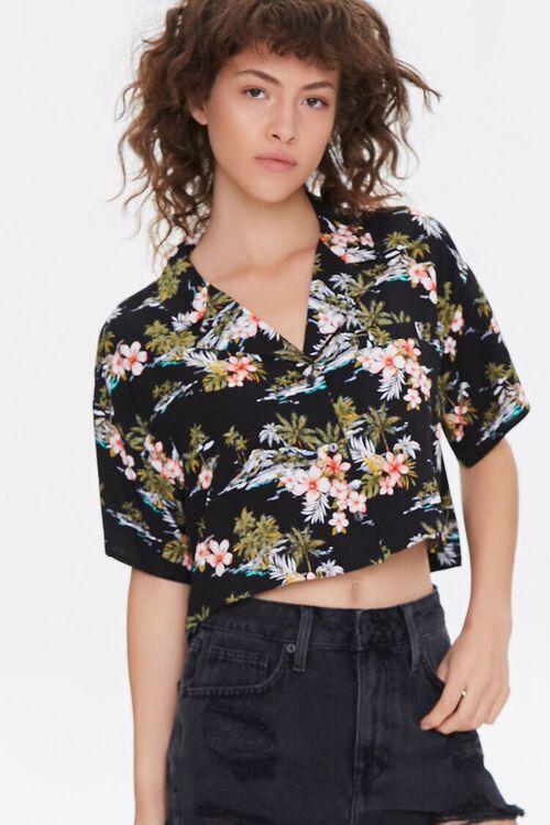 Tropical Print Cropped Shirt, image 2